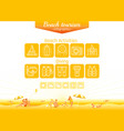 Summer beach travel icon set infographics poster vector image