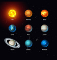 set of solar system objects sun and vector image