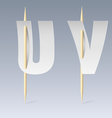 Paper font on toothpicks vector image