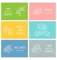 Spa and recreation business cards with icons in vector image