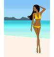 A girl in a yellow bikini vector image vector image