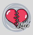broken heart to love symbol decoration vector image