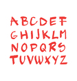 Hand drawn red chalck alphabet vector image