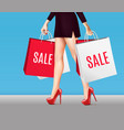 woman with shopping bags realistic composition vector image