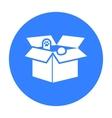 Cat in a carton box icon of vector image