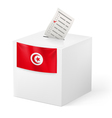 Ballot box with voting paper Tunisia vector image