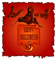 Happy Halloween haunted castle with pumpkins vector image