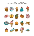 Sweets colorful collection vector image