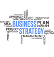 word cloud business strategy vector image vector image