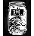 Wish jar with night sky moon and water waves vector image