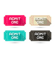 Admit One Tickets Set - Retro Isolated on Wh vector image