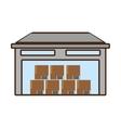 cartoon building warehouse cardboard boxes cargo vector image