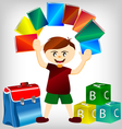 children with books vector image