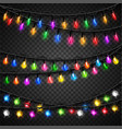 Colorful christmas transparent light bulbs vector image