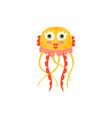 cute jellyfish funny sea creature hand drawn vector image