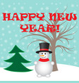cute snowman and trees winter postcard vector image