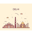 Delhi City skyline Trendy line art vector image
