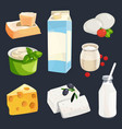 different milk products vector image