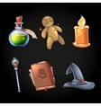Fairy tale magic icons set in cartoon style vector image