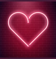 neon heart sign red fluorescent light vector image