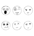 set of emoticon doodles hand drawn sad vector image