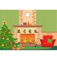Christmas livingroom flat interior vector image