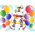 A cheering squad in the middle of the balloons vector image
