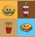 kawaii set fast food icon adorable expression vector image
