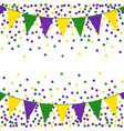 mardi gras background with beads and flags vector image