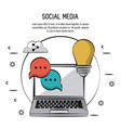 colorful poster of social media with laptop vector image