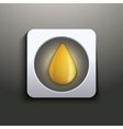 Oil button with yellow drop vector image