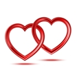 Abstract two shiny hearts shapes vector image vector image