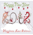 New year 2012 dragons greeting card vector