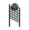 black icon volleyball net and ball cartoon vector image