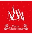 Christmas greeting card with pine trees vector image