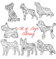 coloring set dogs vector image