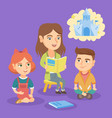 kindergarten teacher reading a fairytale for kids vector image