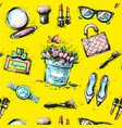 sketch female fashion accesorize seamless pattern vector image