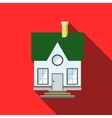 Small house with a green roof icon flat style vector image