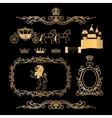 Golden vintage royal elements vector image