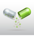 Opening Medical green capsule vector image vector image