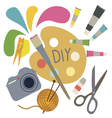 Composition from hobby tools vector image