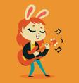 Cute Bunny Girl Playing Guitar vector image