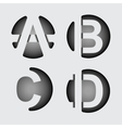 Capital letter A B C D of wide white stripes vector image