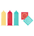 condom and packages flat vector image