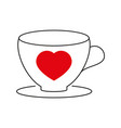 cup with heart icon vector image