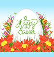 easter egg poster background with sunflowers vector image
