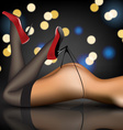 pin-up in stockings and shoes vector image