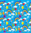 seamless pattern with rainbows clouds colorful vector image