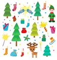 Christmas decoration collection Set of graphic vector image